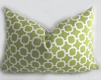Decorative Pillow Cushion Cover - Accent Pillow - Throw Pillow - Indoor Outdoor -Hockley Pear, White, Green