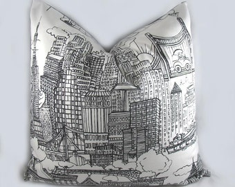 New York New York - Schumacher- Decorative Pillow Cushion Cover - Accent Pillow - Throw Pillow - Black White - City
