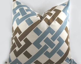 Duralee - Decorative Pillow Cushion Cover - Accent Pillow - Throw Pillow - Blue/Brown - Trellis - Lattice - 16 x 16 inch