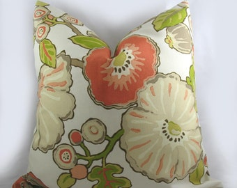 Decorative Pillow Cushion Cover - Accent Pillow - Throw Pillow - Floral Sorbet - Multi - Coral, Khaki, Green - indoor outdoor
