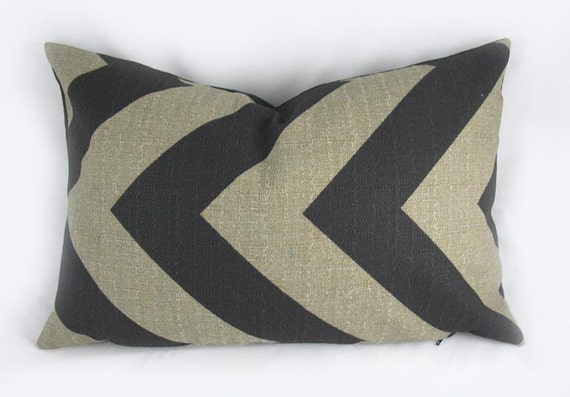 Zigzag Chevron Black / Denton, Stone - Decorative Pillow Cushion Covers - Accent Pillow - Throw Pillow - Lumbar - 12 x 18