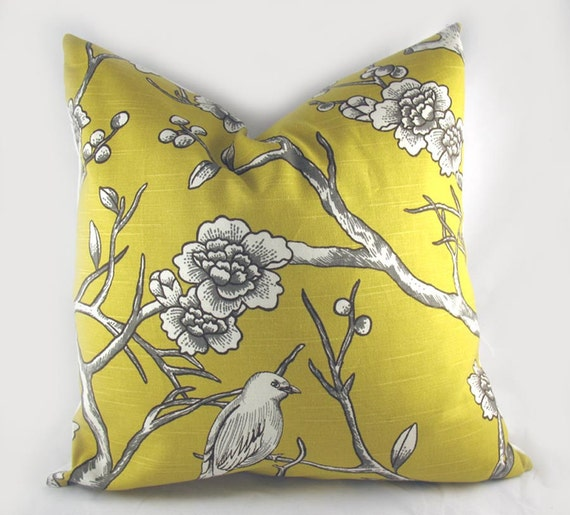 Decorative Pillow Cushion Cover - Accent Pillow - Throw Pillow - Lumbar - Dwell - Vintage Blossom Bird Citrine Yellow White - 20 x 20 Inch