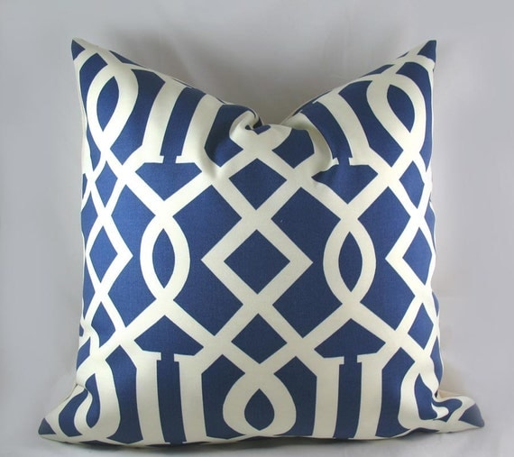 Imperial Trellis Nautical Blue - Decorative Pillow Cushion Covers - Accent Pillow - Throw Pillow - Lattice - Indoor Outdoor