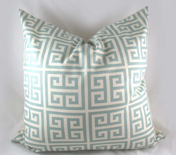 Maze - Greek Key - Decorative Pillow Cushion Covers - Accent Pillow - Throw Pillow - Spa Blue Teal
