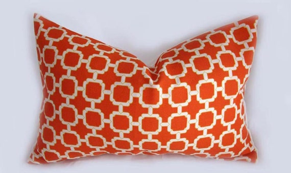 Hockley Mandarin, Orange, White, Khaki - Decorative Pillow Cushion Cover - Accent Pillow - Throw Pillow - Indoor Outdoor