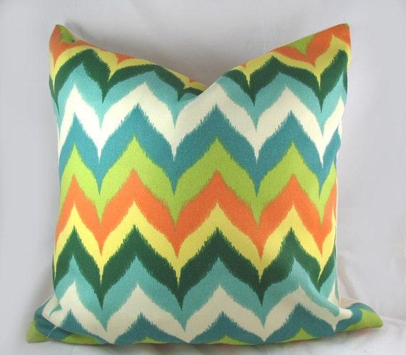 Teal And Orange Decorative Pillows : Teal Orange Chevron Decorative Pillow Cushion by kimoleydecor