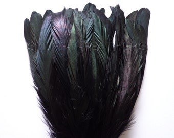 IRIDESCENT Black Coque feathers, rooster tail feathers, strung / 6-8 inches (15-20 cm) long / F56-6