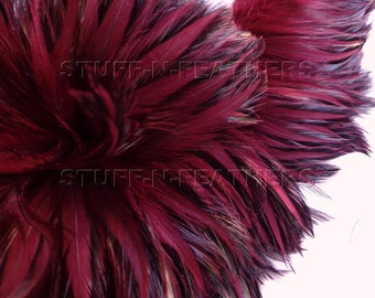 Wholesale / bulk feathers - Red Wine rooster feather furnace hackle for millinery, costumes, crafts, decor / strung 10 in (25 cm) / FB89-4