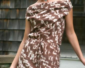 40% OFF SALE, Light Cotton Mini Dress, brown dress, off the shoulder dress, cowl neck dress,tie dye dress,african fabric,african print dress