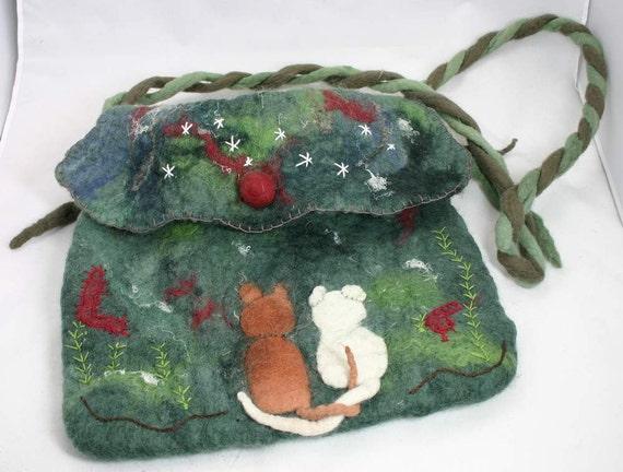 Felted bag: Cats in love. wool, wet felted handbag