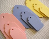 54 Springtime Scalloped tags, small, medium and large, Gift Tags, Party Favor Tags, Price Tags