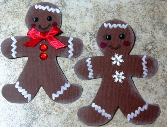 Set of 2 Handcut and decorated Christmas Gingerbread men, Scrapbook, Cards, Topper Embellishments