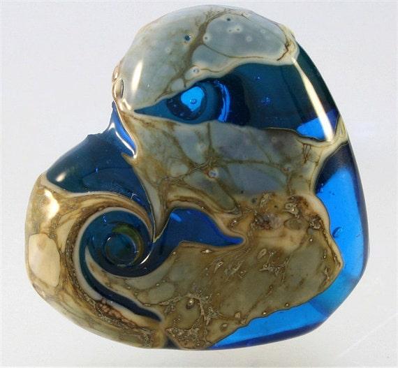 Handmade Lampwork  Bead SRA Blue Heart Focal Grunge FireSong Creations