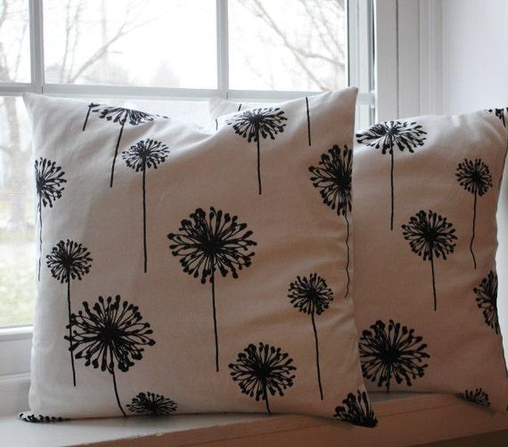 18x18 Black Dandelion Pillow Cover Set
