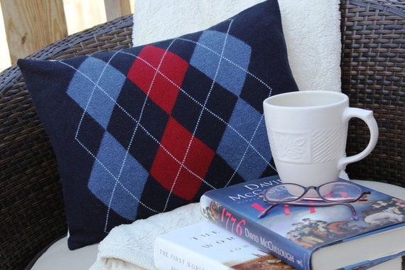 """12x16 The """"Husband"""" upcycled sweater pillow cover"""