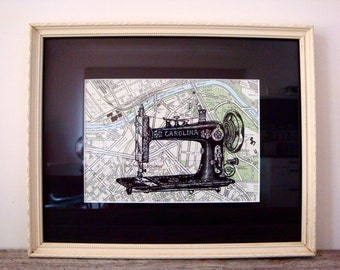 Framed Sewing Machine Print on Vintage South Melbourne Map, 6 x 8