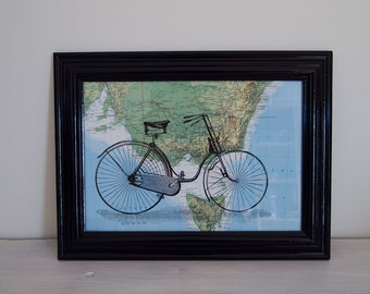 Framed Ladies Bicycle Print on Vintage Map of Victoria, Australia, A4