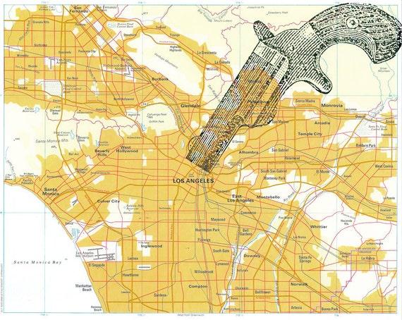 vintage map print - shotgun on vintage map of los angeles 8 x 10