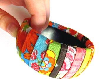 Multi-Colored Fabric Cuff Bracelet