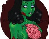"""Dead Sexy 6  - Rockabilly Zombie Girl 4"""" by 6"""" Mini-Print"""