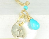 RESERVED FOR BROOKE...  Gold Initial Necklace, Peridot, Bridesmaid Jewelry Sets, Bridal Favors,Something Blue, Charms