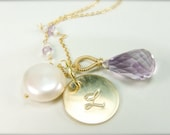 Lilac Bridesmaid Gifts:) Monogram Jewelry