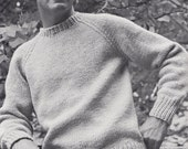 Knit Mens Round Neck Pullover with Raglan Sleeves Vintage Knitting PDF PATTERN Retro Mad Men