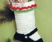 Crochet Christmas Stocking Mary Jane Vintage Crocheting PDF PATTERN