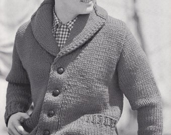 Knit Mens Cardigan with Shawl Collar Vintage Knitting PDF PATTERN Retro Mad Men