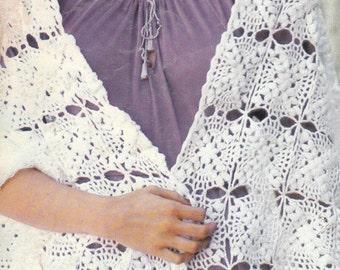Crochet Granny Square Shawl 1970's Vintage Crocheting PDF PATTERN