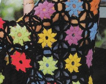 Crochet Star Motif Shawl 1970's Vintage Crocheting PDF PATTERN