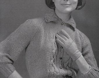 Knit Womens Cabled Raglan Cardigan 1960's Vintage Knitting  PDF PATTERN Retro Mad Men