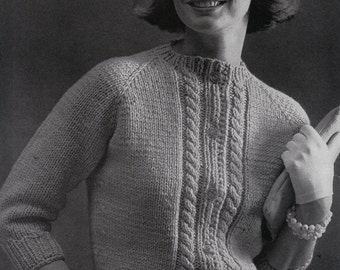 Knit Womens Cabled Pullover 1960's Vintage Knitting PDF PATTERN Retro Mad Men