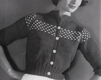 Knit Womens College Raglan Cardigan 1960's Vintage Knitting PDF PATTERN Retro Mad Men