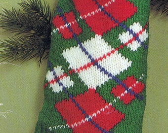 Knit Christmas Argyle Stocking Vintage Knitting PDF PATTERN Retro padurns