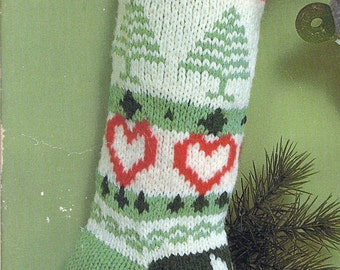 Knit Christmas Fair Isle Stocking Vintage Knitting PDF PATTERN Retro padurns