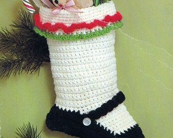 Crochet Christmas Stocking Mary Jane Vintage Crocheting PDF PATTERN