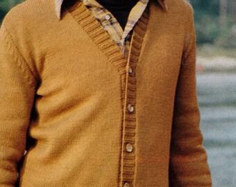 Knit Mens Cardigan 1970's Vintage Knitting PDF PATTERN