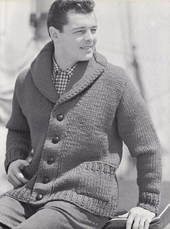 Knitting Cardigan Collar : Knit mens cardigan with shawl collar vintage knitting by
