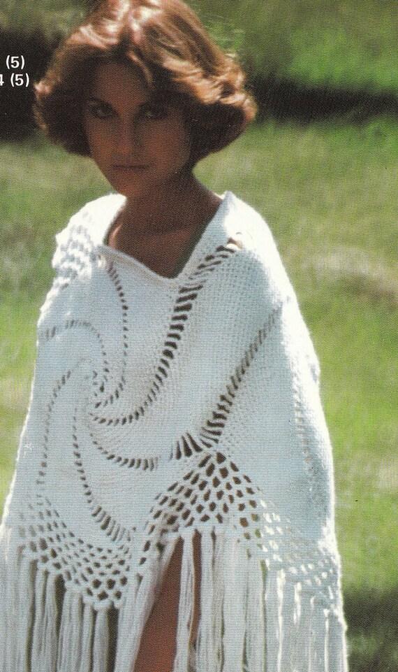 Crochet Spiral Shawl 1970's Vintage Crocheting PDF PATTERN