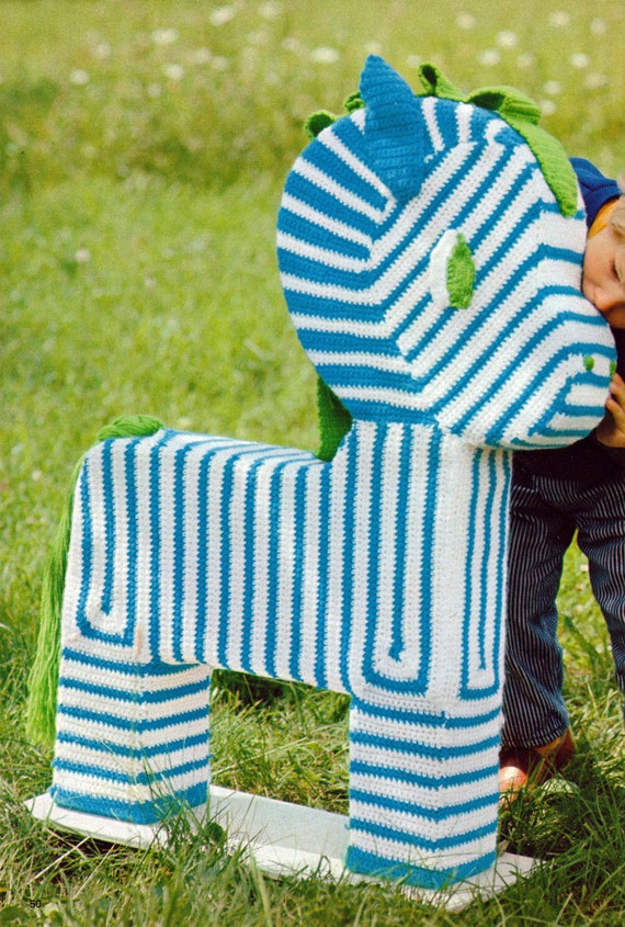 Knit Zebra Toy 1970s Vintage Knitting PDF PATTERN