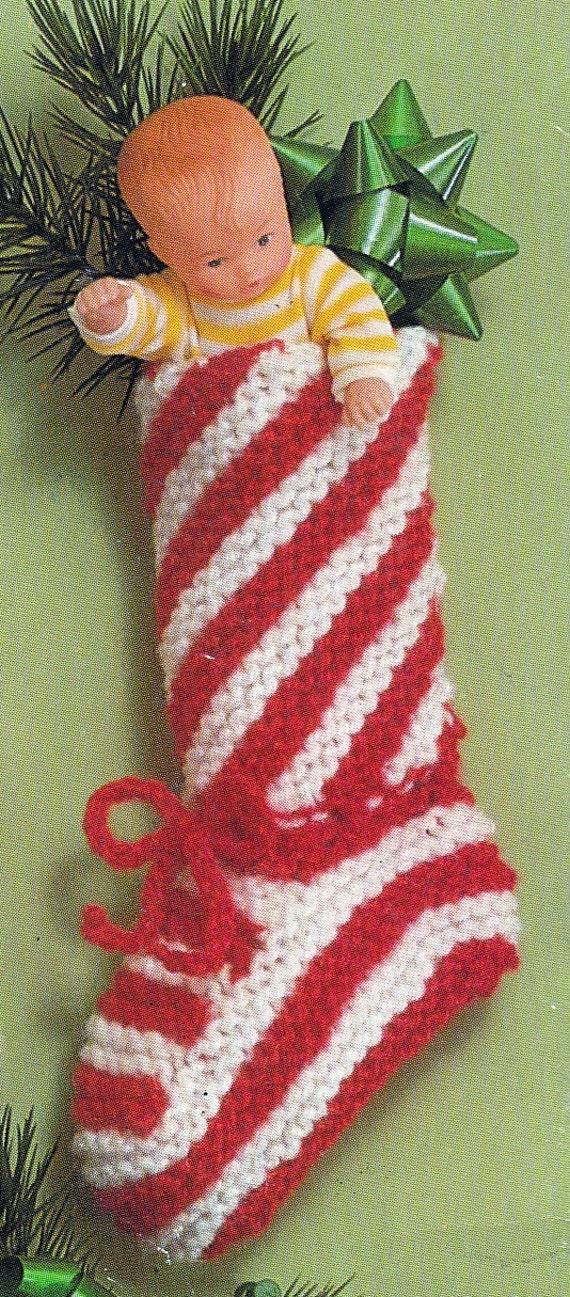 Christmas Stocking Knitting Patterns Vintage : Knit Christmas Candy Cane Stocking Vintage Knitting PDF