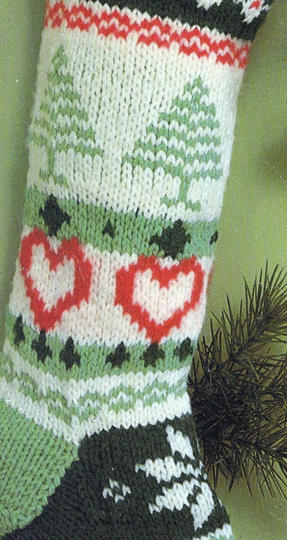 Vintage Christmas Stocking Knitting Pattern : Knit Christmas Fair Isle Stocking Vintage Knitting PDF PATTERN Retro padurns ...