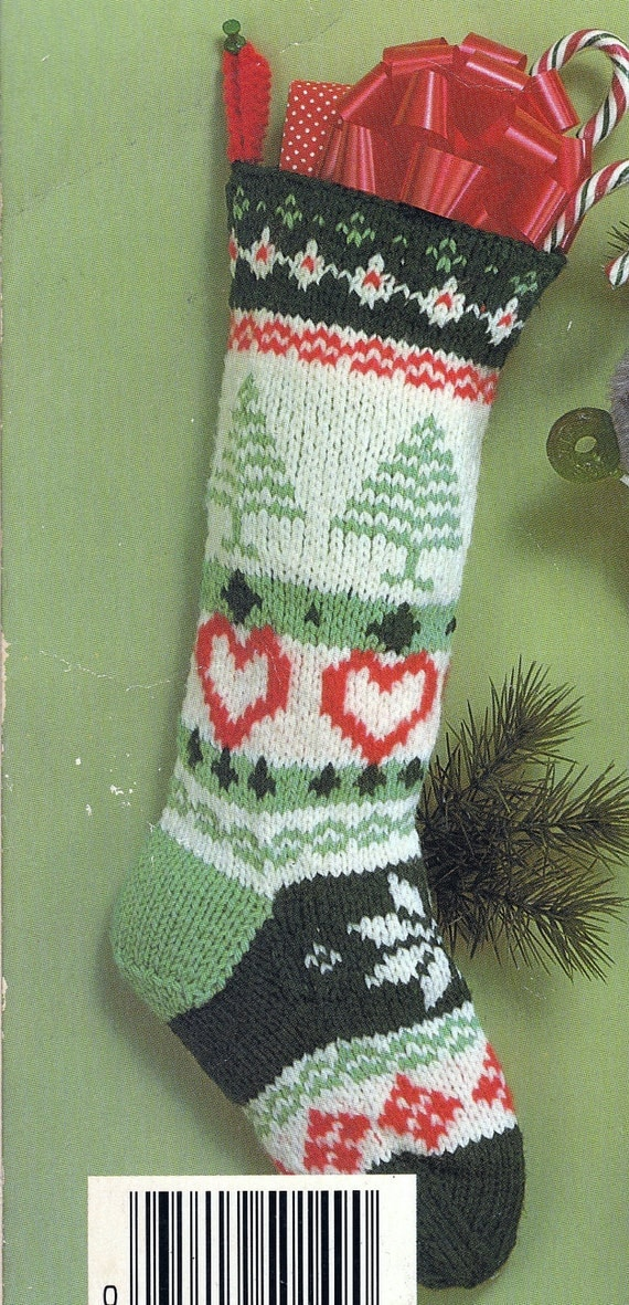 Christmas Stocking Knit Pattern : Knit Christmas Fair Isle Stocking Vintage Knitting PDF PATTERN