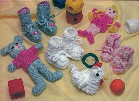 Knitting Patterns For Dolls Booties : Knit and Crochet Baby Booties and Dolls Vintage Knitting