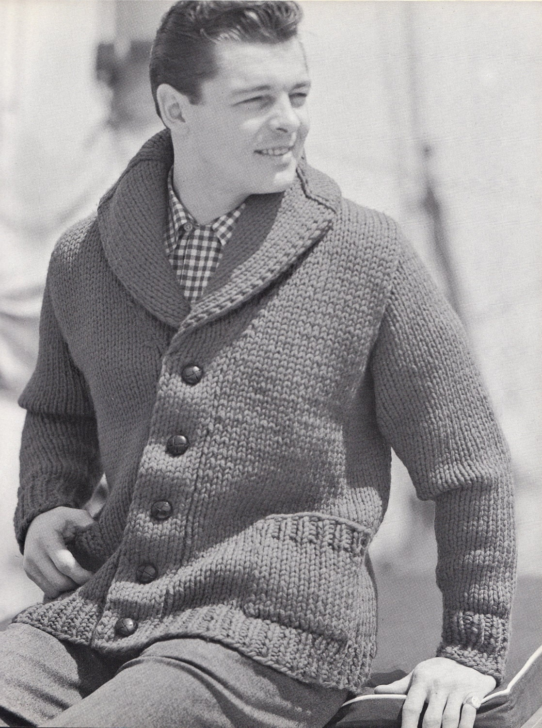 Knitting Pattern Sweater With Collar : Knit Mens Cardigan with Shawl Collar Vintage Knitting PDF