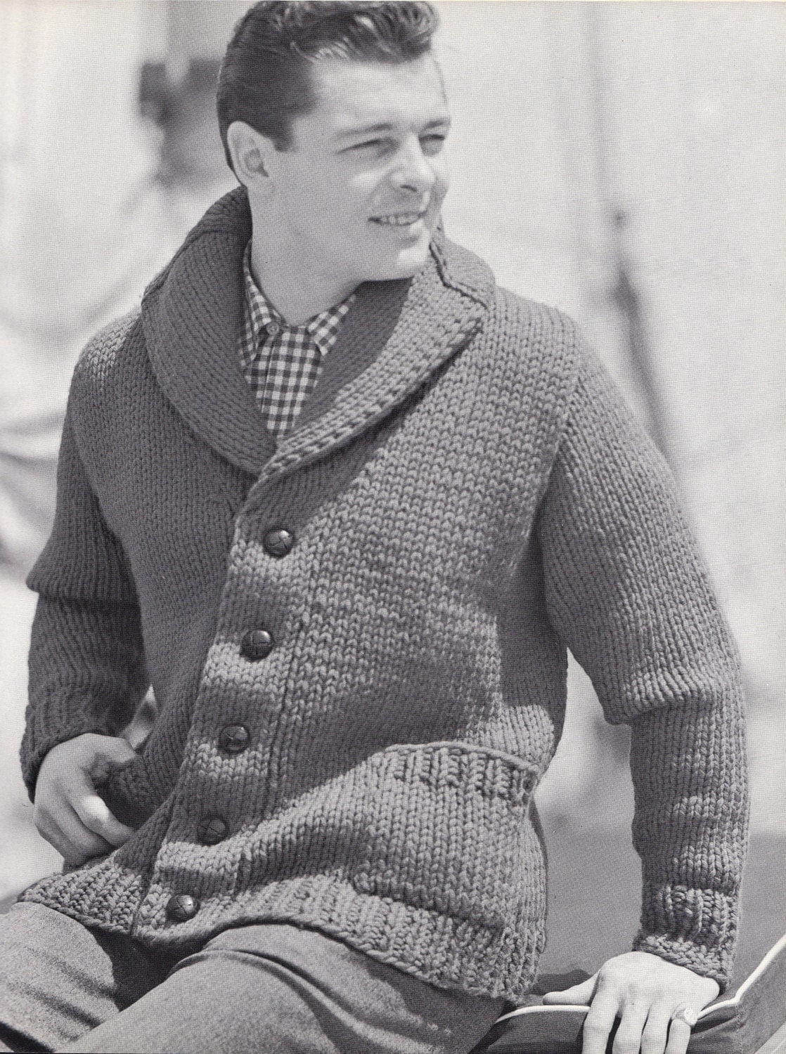 Knit Mens Cardigan with Shawl Collar Vintage Knitting PDF