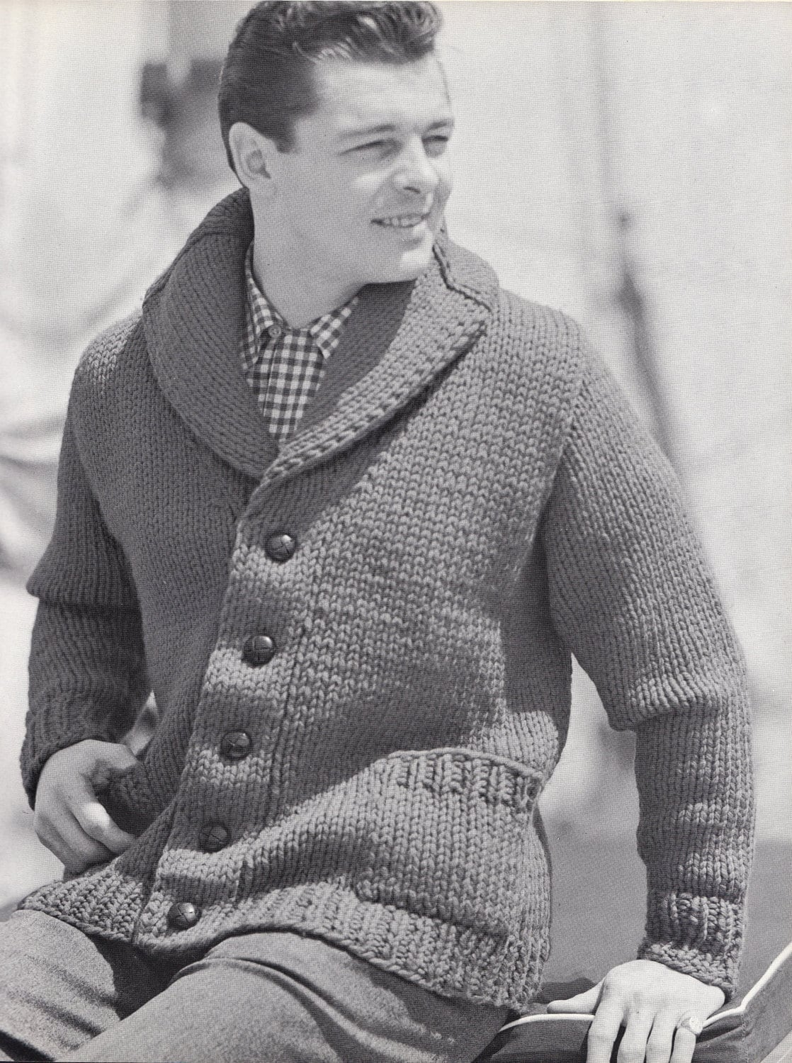 Knitting Pattern Cardigan Shawl Collar : Knit Mens Cardigan with Shawl Collar Vintage Knitting PDF