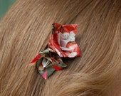 """Bobby Pin """"Hana Hana"""" grey/pink Origami Flowers"""
