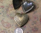 2 heart lockets brass with leafy pattern